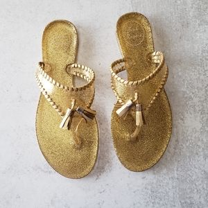 Jack Rogers Jelly Gliiter Sandal Gold Flip Flop 6